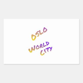 Oslo world city, colorful text art rectangular sticker