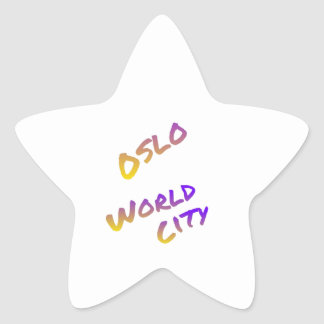 Oslo world city, colorful text art star sticker