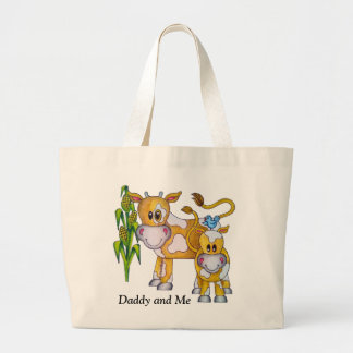 "OSo Cute ""Daddy and Me"" Cow Jumbo Tote Bag"
