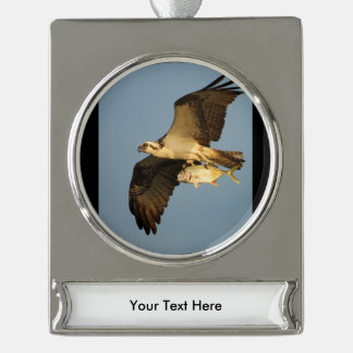 osprey fishing silver plated banner ornament