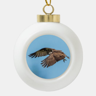 Osprey in flight at Honeymoon Island State Park Ceramic Ball Christmas Ornament