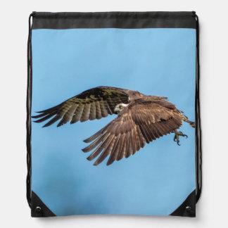 Osprey in flight at Honeymoon Island State Park Drawstring Bag