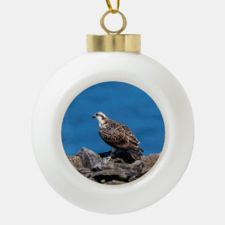 Osprey on the rocks ceramic ball christmas ornament