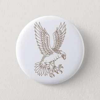 Osprey Swooping Drawing 6 Cm Round Badge