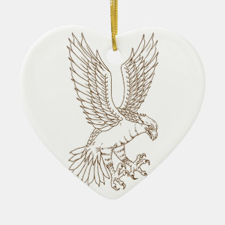 Osprey Swooping Drawing Ceramic Ornament