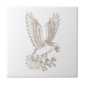 Osprey Swooping Drawing Ceramic Tile