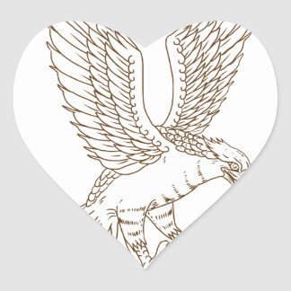 Osprey Swooping Drawing Heart Sticker