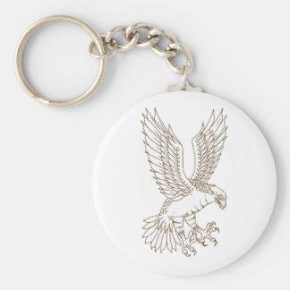 Osprey Swooping Drawing Key Ring