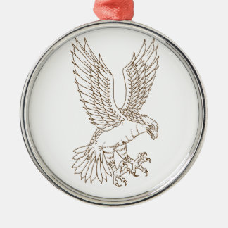 Osprey Swooping Drawing Metal Ornament