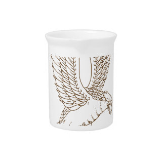 Osprey Swooping Drawing Pitcher