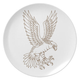 Osprey Swooping Drawing Plate