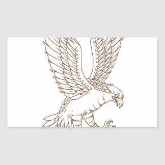 Osprey Swooping Drawing Rectangular Sticker