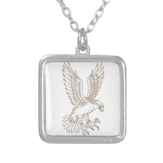 Osprey Swooping Drawing Silver Plated Necklace