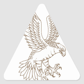 Osprey Swooping Drawing Triangle Sticker
