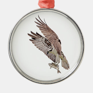 Osprey with a fish Silver-Colored round decoration