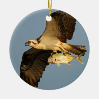 osprey with fish round ceramic decoration
