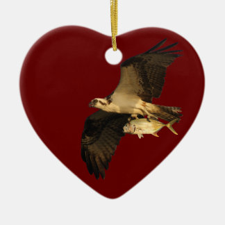 osprey with gift ceramic heart decoration