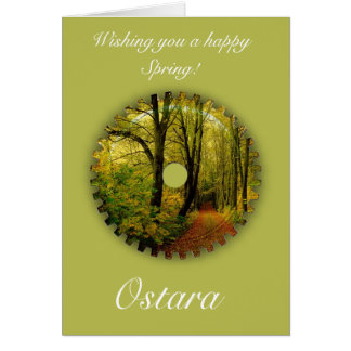 Ostara Spring Solstice with spring scenery Card