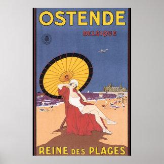 Ostende-Belgique Vintage Travel Poster