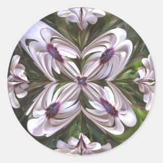 Osteospermum Abstract Round Stickers