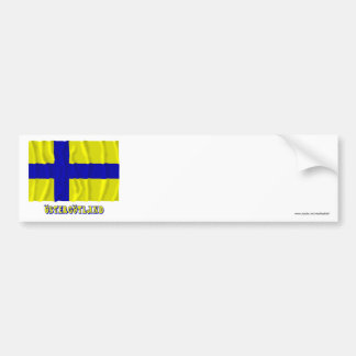 Östergötland waving flag with name (unofficial) bumper sticker