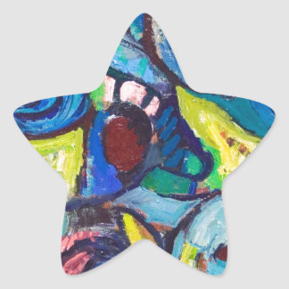 Ostracized Fishes (abstract expressionism) Star Sticker