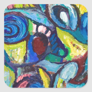 Ostracized Fishes abstract expressionism Square Stickers