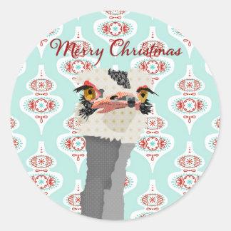 Ostrich Art Christmas Sticker