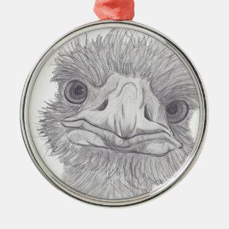 Ostrich Face Metal Ornament