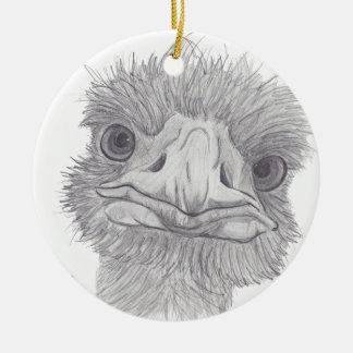 Ostrich Face Round Ceramic Decoration