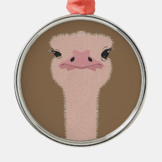 Ostrich funny face metal ornament
