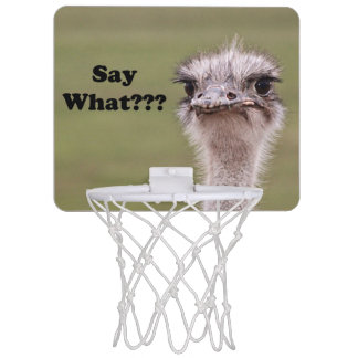 Ostrich Head Say What Photo Mini Basketball Hoop