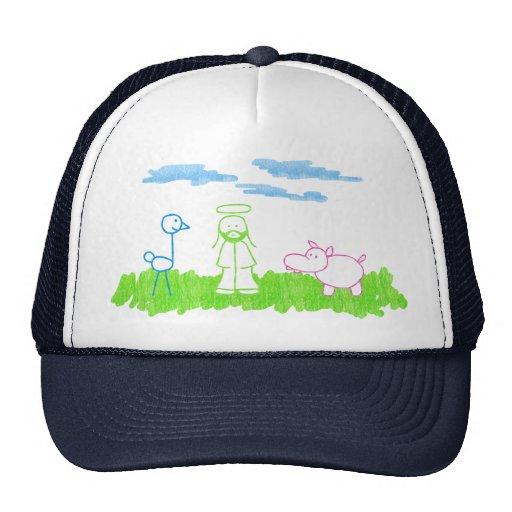 Ostrich, Hippo & Jesus on Grass Hat