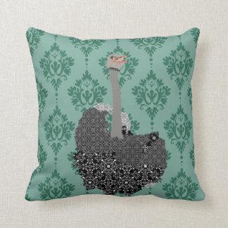 Ostrich Jade Damask Mojo Pillow Throw Cushions