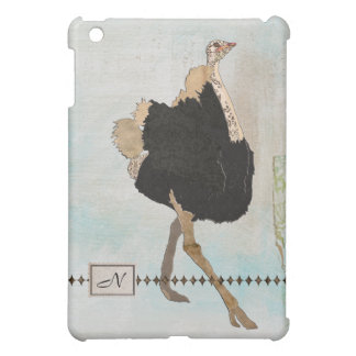 Ostrich Monogram iPad Case