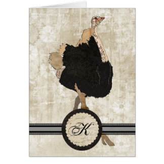 Ostrich Monogram Notecard Greeting Cards