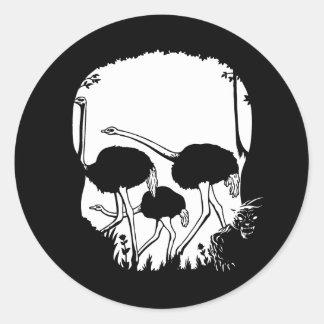 Ostrich Skull Illusion Classic Round Sticker