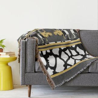 Ostriches Gray Black Throw Blanket