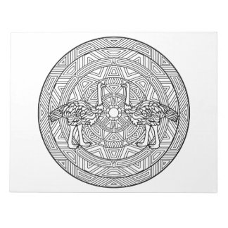 Ostriches Mandala Coloring Book Pad