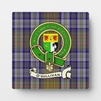 O'Sullivan Family Tartan Plaid & Clan Crest Badge Plaque