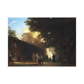 Oswald Achenbach Italian Villa and Park Canvas Print