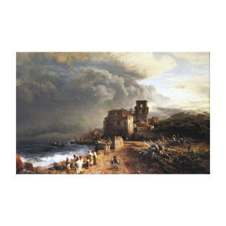 Oswald Achenbach Shaded Seaside Landscape Canvas Print