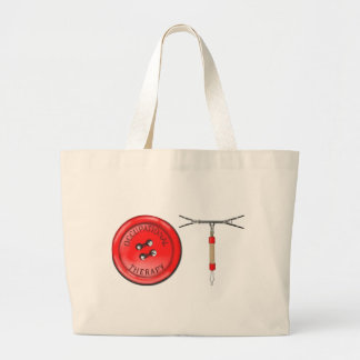 OT Button and Zipper Large Tote Bag