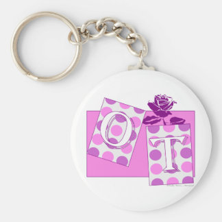 ot letter blocks pink purple key ring