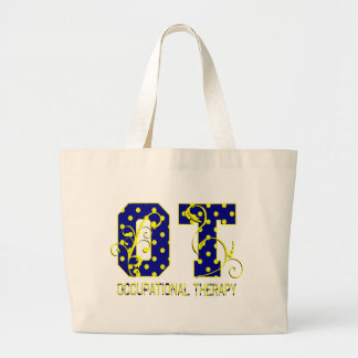 ot letters blue and yellow jumbo tote bag