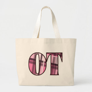 ot pink and black large tote bag