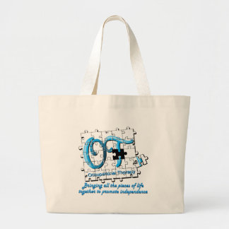 ot puzzle aqua large tote bag