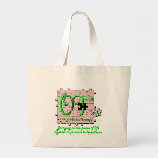 ot puzzle pink and green tote bag
