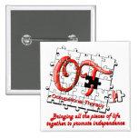 ot puzzle red 15 cm square badge