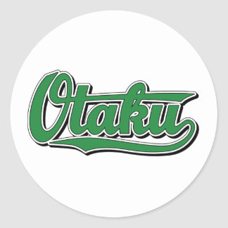 Otaku in Green Classic Round Sticker